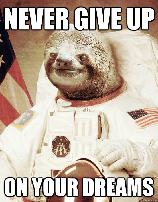 Never give up sloth